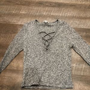 Ladies Heather Gray Fitted Criss Cross Sweater